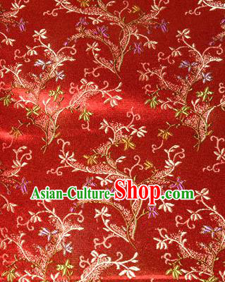 Asian Chinese Tang Suit Brocade Red Silk Fabric Traditional Royal Pattern Design Satin Material