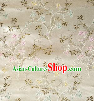 Asian Chinese Tang Suit Brocade Beige Silk Fabric Traditional Royal Pattern Design Satin Material