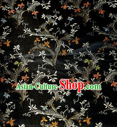 Asian Chinese Tang Suit Brocade Black Silk Fabric Traditional Royal Pattern Design Satin Material
