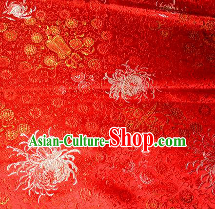 Asian Traditional Royal Chrysanthemum Pattern Design Red Satin Material Chinese Tang Suit Brocade Silk Fabric