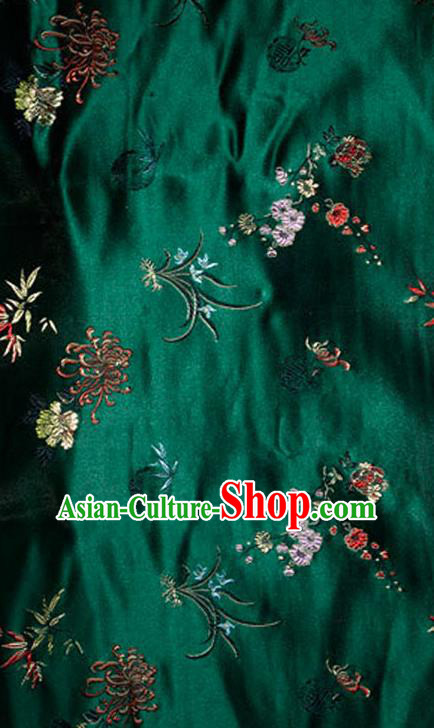 Asian Chinese Tang Suit Green Brocade Silk Fabric Traditional Plum Blossom Orchid Bamboo Chrysanthemum Pattern Design Satin Material