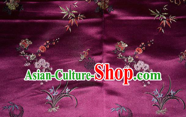 Asian Chinese Tang Suit Purple Brocade Silk Fabric Traditional Plum Blossom Orchid Bamboo Chrysanthemum Pattern Design Satin Material