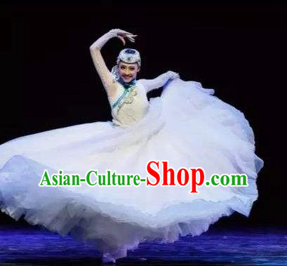 Chinese Traditional Classical Dance Costumes Umbrella Dance Folk Dance White Dress for Women