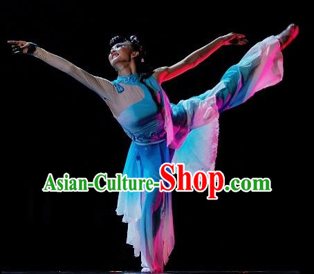 Chinese Traditional Classical Dance Costumes Folk Dance Stage Performance Dress for Women