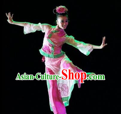 Chinese Traditional Group Dance Costumes Classical Dance Stage Performance Pink Dress for Women