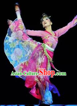 Chinese Traditional Classical Dance Costumes Group Dance Stage Performance Pink Dress for Women