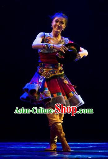 Chinese Traditional Zang Nationality Dance Costumes Group Dance Stage Performance Dress for Women