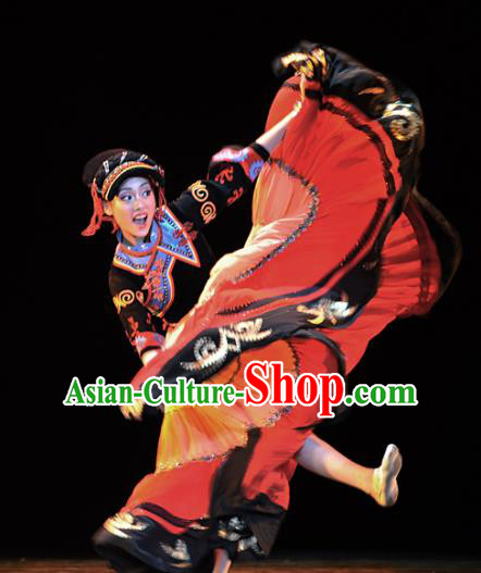 Chinese Traditional Folk Dance Yi Ethnic Costumes Group Dance Stage Performance Dress for Women
