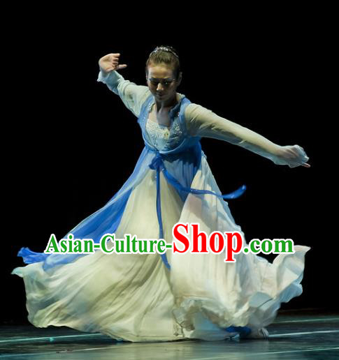 Chinese Traditional Classical Dance Costumes Stage Performance Folk Dance Blue Dress for Women