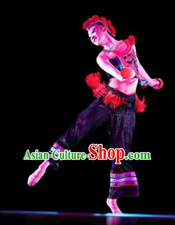 Chinese Traditional Folk Dance Costumes Group Dance Stage Performance Clothing for Women