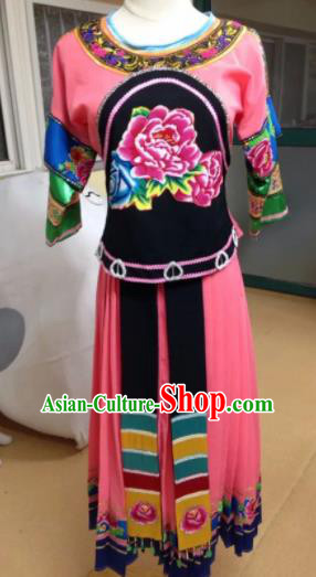 Chinese Traditional Classical Dance Group Dance Costumes Miao Nationality Stage Performance Pink Dress for Women