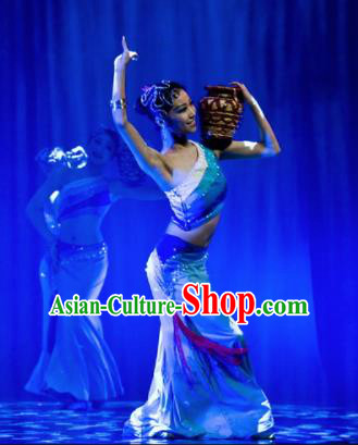 Chinese Traditional Folk Dance Group Dance Stage Performance Costumes Peacock Dance Dress for Women