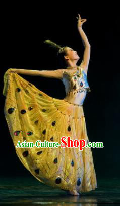 Chinese Traditional Folk Dance Peacock Dance Costumes Group Dance Stage Performance Clothing for Women
