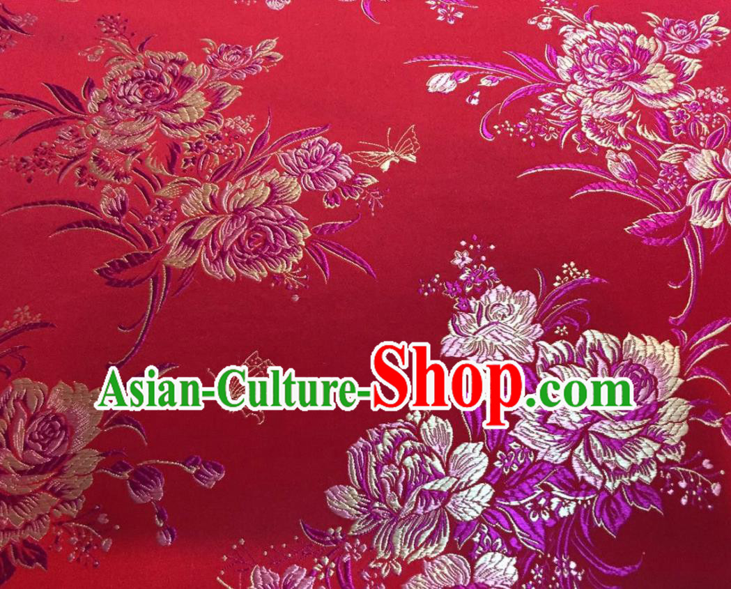 Asian Traditional Royal Peony Pattern Design Red Satin Material Chinese Tang Suit Brocade Silk Fabric