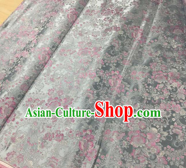 Asian Traditional Royal Pattern Design Grey Satin Material Chinese Tang Suit Brocade Silk Fabric