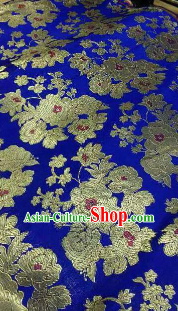Asian Traditional Royal Pattern Design Royalblue Satin Material Chinese Tang Suit Brocade Silk Fabric
