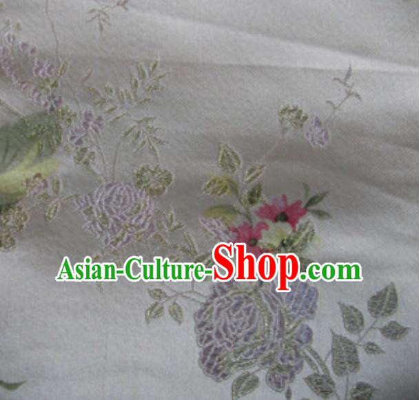 Asian Traditional Royal Peony Pattern Design White Satin Material Chinese Tang Suit Brocade Silk Fabric
