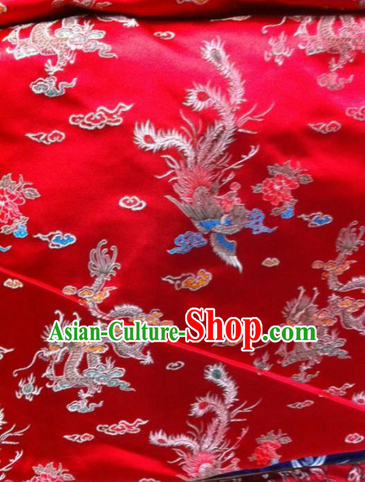 Asian Traditional Royal Dragon Phoenix Pattern Design Red Satin Material Chinese Tang Suit Brocade Silk Fabric