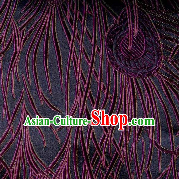 Asian Traditional Royal Feather Pattern Design Purple Satin Material Chinese Tang Suit Brocade Silk Fabric