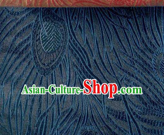 Asian Traditional Royal Feather Pattern Design Navy Satin Material Chinese Tang Suit Brocade Silk Fabric