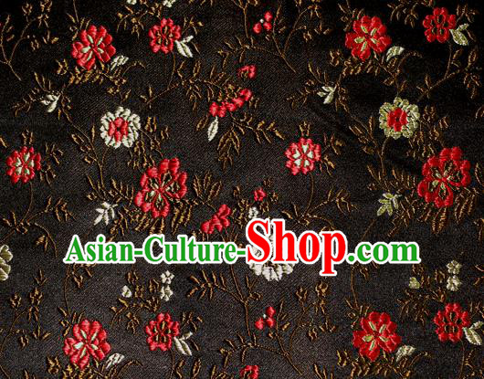 Asian Traditional Royal Flowers Pattern Design Black Satin Material Chinese Tang Suit Brocade Silk Fabric