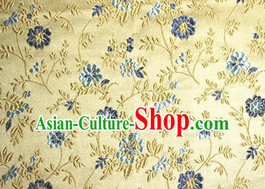 Asian Traditional Royal Flowers Pattern Design Golden Satin Material Chinese Tang Suit Brocade Silk Fabric
