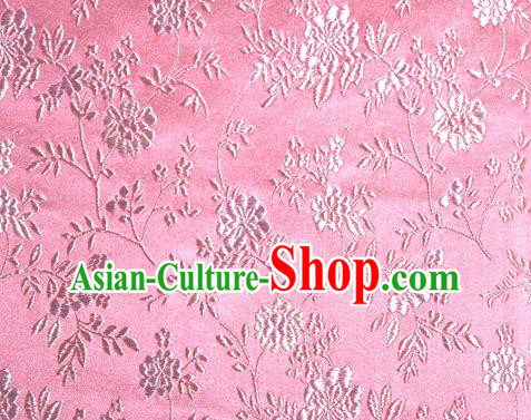 Asian Traditional Royal Flowers Pattern Design Pink Satin Material Chinese Tang Suit Brocade Silk Fabric