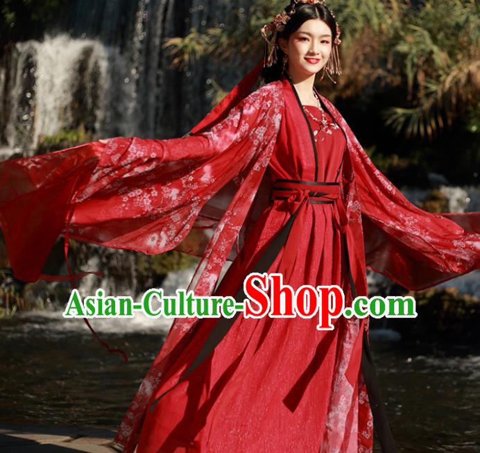 Chinese Ancient Tang Dynasty Wedding Historical Costumes Traditional Princess Red Hanfu Dress for Women