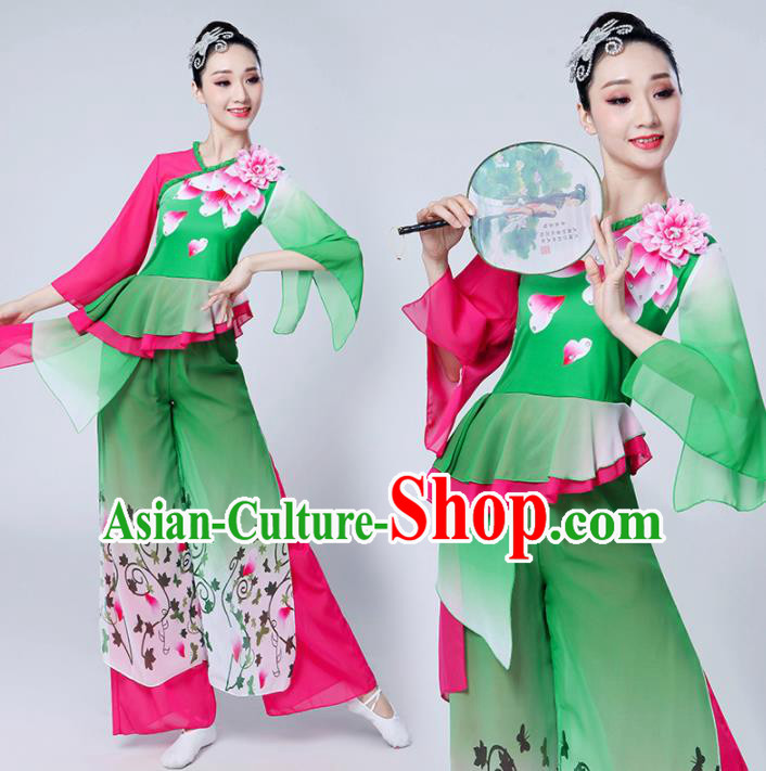 Chinese Traditional Group Dance Yangko Costumes Stage Performance Folk Dance Green Clothing for Women
