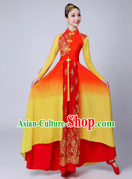 Chinese Traditional Classical Dance Costumes Stage Performance Dance Red Dress for Women