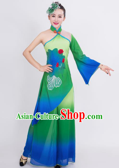 Chinese Traditional Classical Dance Costumes Stage Performance Lotus Dance Green Dress for Women
