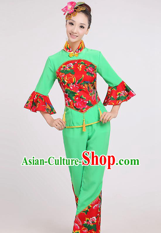Chinese Traditional Yangko Dance Village Girl Green Costumes Group Dance Folk Dance Clothing for Women