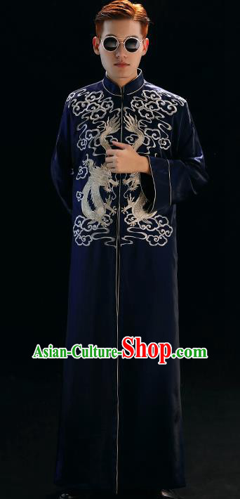 Chinese Traditional Wedding Costumes Tang Suit Bridegroom Embroidered Navy Long Gown for Men