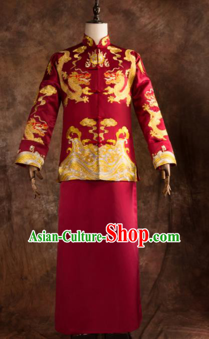Chinese Traditional Wedding Costumes Bridegroom Embroidered Dragon Tang Suit Red Gown for Men