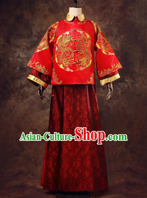 Chinese Ancient Traditional Wedding Costumes Bridegroom Embroidered Tang Suit Red Gown for Men