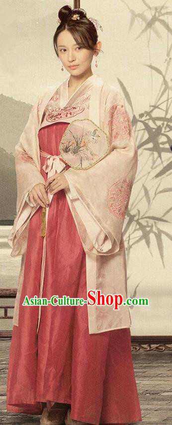Drama The Story of MingLan Chinese Ancient Hanfu Dress Song Dynasty Aristocratic Lady Embroidered Historical Costumes