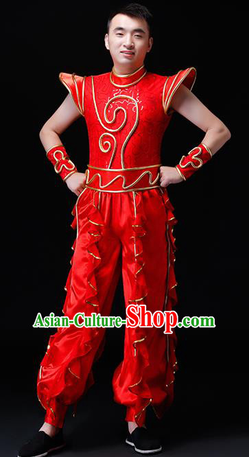 Chinese Traditional Folk Dance Costumes Drum Dance Group Dance Red Clothing for Men
