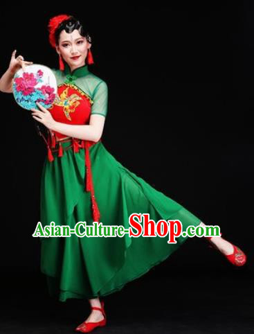 Chinese Traditional Folk Dance Costumes Yangko Dance Group Dance Green Dress for Women