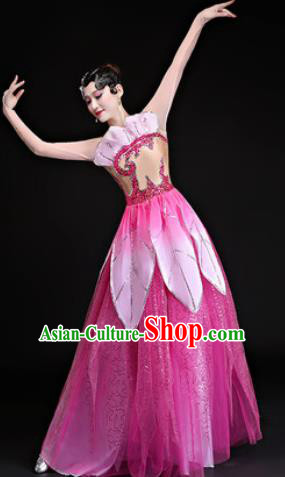 Chinese Traditional Classical Dance Costumes Umbrella Dance Lotus Dance Pink Dress for Women