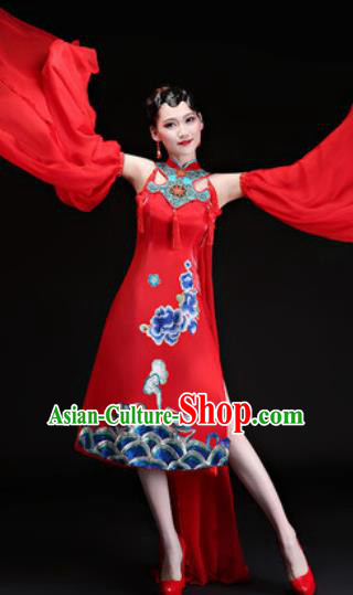 Chinese Traditional Folk Dance Yangko Costumes Drum Dance Red Dress for Women