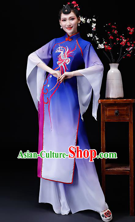 Chinese Traditional Classical Dance Costumes Umbrella Dance Group Dance Royalblue Dress for Women