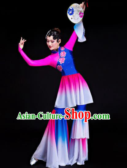 Chinese Traditional Folk Dance Yangko Costumes Group Dance Rosy Dress for Women