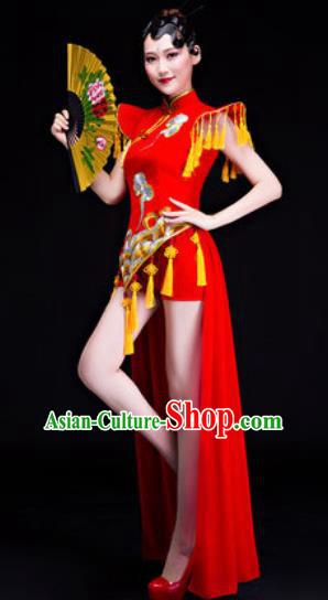 Chinese Traditional Folk Dance Drum Dance Costumes Group Dance Red Dress for Women