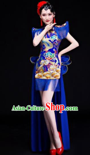 Chinese Traditional Folk Dance Drum Dance Costumes Group Dance Royalblue Dress for Women