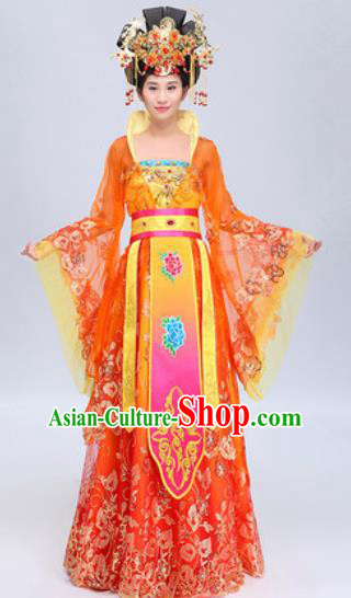Chinese Traditional Classical Dance Costumes Tang Dynasty Imperial Concubine Yang Dance Red Dress for Women