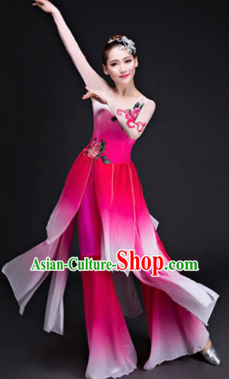 Chinese Traditional Umbrella Dance Costumes Classical Dance Lotus Dance Rosy Dress for Women