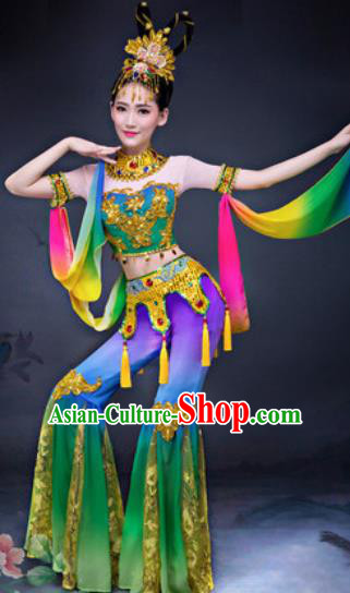 Chinese Traditional Umbrella Dance Costumes Classical Dance Dunhuang Flying Apsaras Dance Green Dress for Women