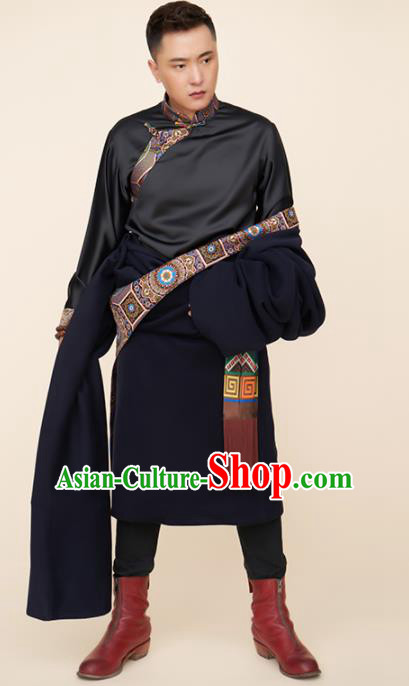 Traditional Chinese Zang Nationality Dance Costumes Tibetan Folk Dance Ethnic Clothing for Men