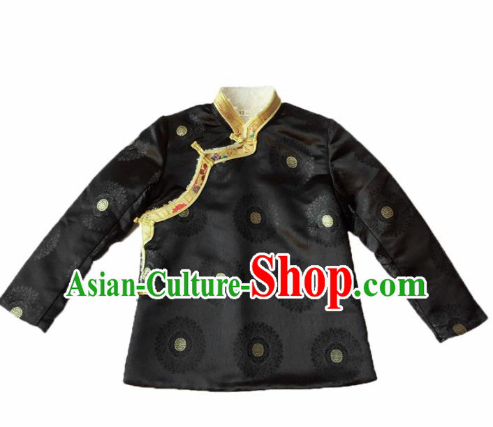 Traditional Chinese Zang Nationality Dance Costumes Ethnic Folk Dance Tibetan Black Jacket for Women