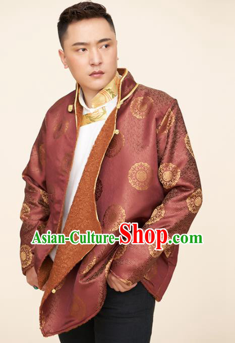 Traditional Chinese Zang Nationality Dance Costumes Tibetan Folk Dance Ethnic Wine Red Coat for Men